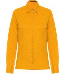 camisa feminina linho - amarelo