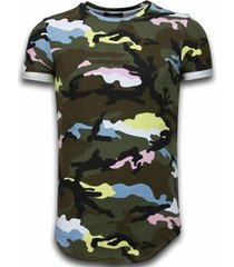 t-shirt korte mouw tony backer known camouflage t-shirt - long fit -shirt army - pink