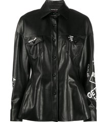 ermanno scervino embroidered faux-leather shirt - black