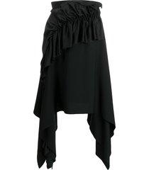 christopher kane crepe and satin frill skirt - black