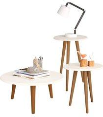 conjunto para sala de estar lyam decor mesa de centro e laterais off-white
