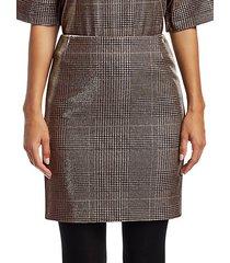 metallic lurex glen check mini skirt