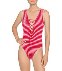women's robin piccone sailor lace-up plunge one-piece swimsuit, size 2 - red