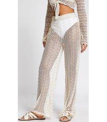 river island womens cream zig-zag knit flared beach trousers
