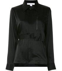 y-3 asymmetric belted satin shirt - black