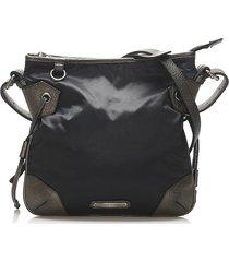 burberry nylon crossbody bag black, gray sz: m