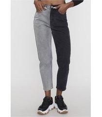jeans straight patchwork negro bicolor  corona