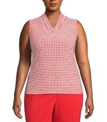 anne klein plus size pearly dot-print sleeveless top