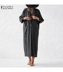 zanzea abrigo largo extragrande para mujer cuello vuelto cárdigan de punto liso -gris oscuro