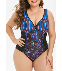 contrast stripes floral ruched plus size one-piece swimsuit