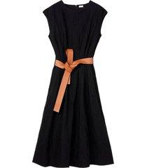 loewe leather belt midi dress