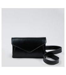 pochete feminina pequena com lapela preta