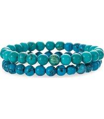 eye candy la men's caleb 2-piece turquoise beaded bracelet set
