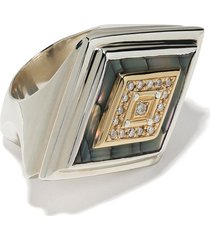duffy jewellery 18kt yellow gold and silver square shell and diamond