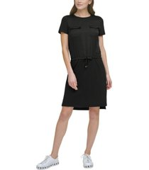 dkny solid drawstring-waist pocket-front dress