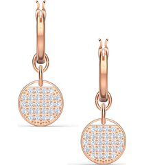 swarovski rose gold-tone crystal coin convertible hoop earrings