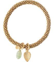 armband a beautiful story jacky aventurine leaf gold plated bracelet