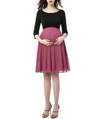 women's kimi and kai marie colorblock pleat skirt maternity dress