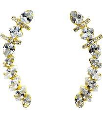 brinco maxi ear cuff navete carré de pedras cristais banhado a ouro 18k