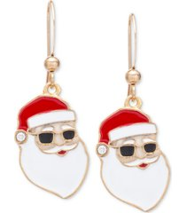 holiday lane gold-tone pave sunglasses santa drop earrings, created for macy's
