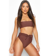 plaited high waist belt bandeau bikini, chocolate