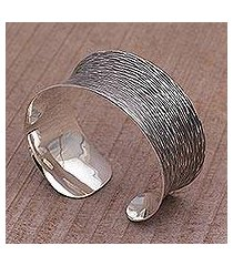 sterling silver cuff bracelet, 'dark rain blanket' (indonesia)