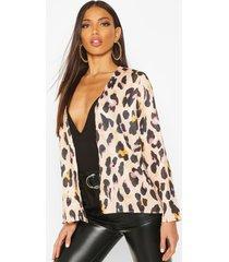 leopard satin kimono, tan