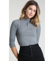 blusa feminina canelada com zíper de argola manga longa gola alta cinza mescla escuro