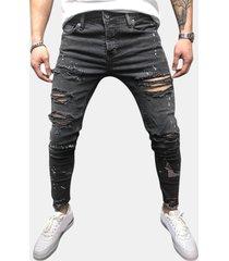 fori traspiranti alla moda per uomo trendy lavati sottile jeans