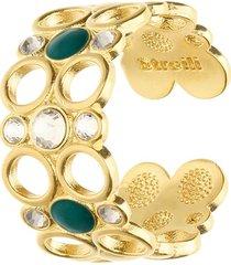anello regolabile in ottone dorato con cristalli e smalto verde per donna