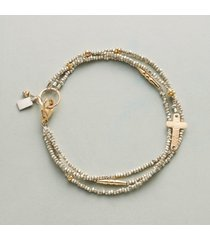 mixed media cross bracelet