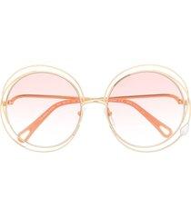 chloé eyewear carlina pearl round-frame sunglasses - gold