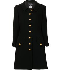 chanel pre-owned 1996 single-buttoned short military coat - black