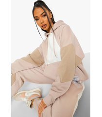 official product colour block hoodie, taupe