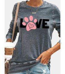 camicetta casual da donna con scollo a manica lunga con stampa a lettera zampa di cane