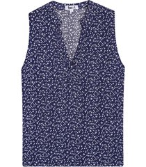 blusa para mujer mini flores color azul, talla l