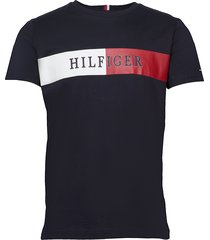block stripe hilfige t-shirts short-sleeved svart tommy hilfiger