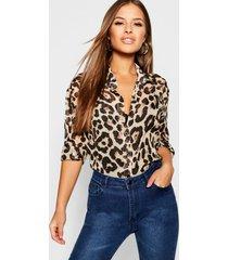 petite chiffon blouse met luipaardprint, bruin