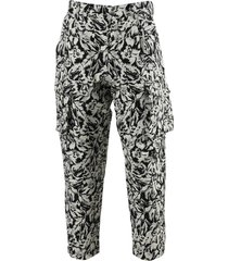 black and ivory floral cargo pants