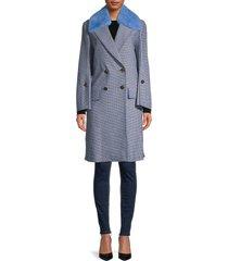 fendi women's mink fur collar & fleece wool-blend coat - antigua - size 44 (10)