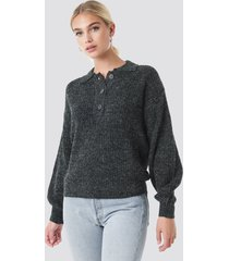 na-kd trend henley knitted sweater - grey