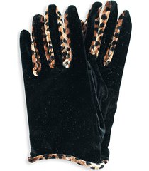 portolano women's velvet & animal-print gloves - black cheetah