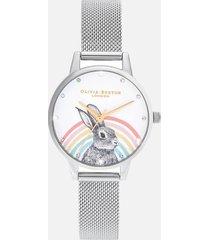 olivia burton women's illustrated animals rainbow bunny mesh watch - gold & silver
