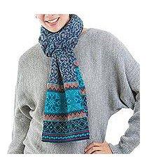 100% alpaca scarf, 'andean snowfall' (peru)