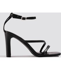 na-kd shoes strappy flat heel sandals - black
