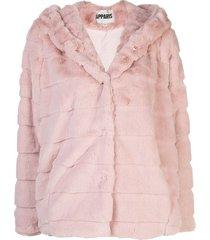 apparis goldie short faux-fur coat - pink