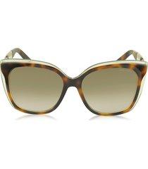 jimmy choo designer sunglasses, octavia/s 19wjd havana brown acetate cat eye sunglasses