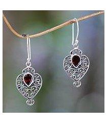 garnet dangle earrings, 'hibiscus dew' (indonesia)