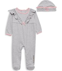 baby girl's 2-piece striped hat & footie pajama set