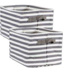 design imports polyethylene coated herringbone woven cotton laundry bin stripe rectangle small set of 2